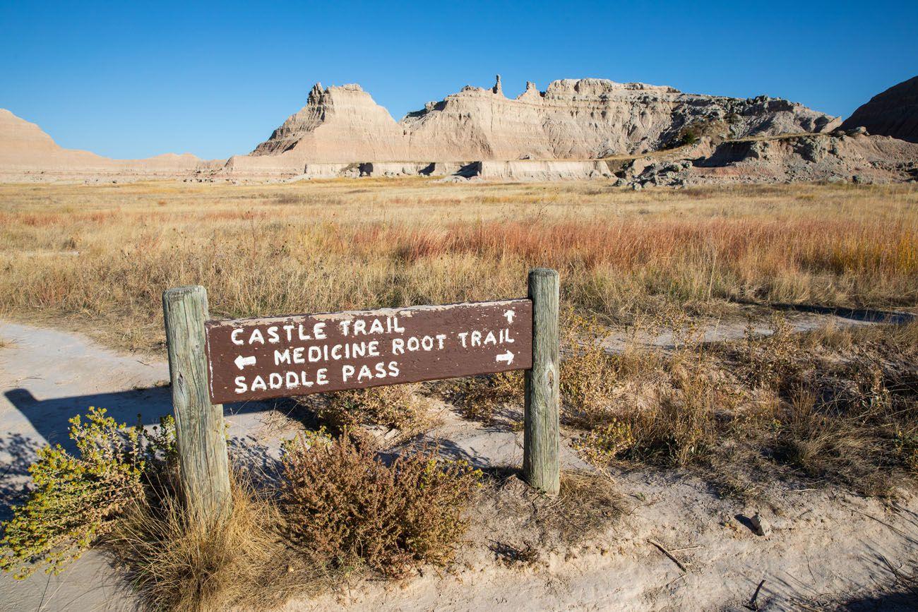 Castle Trail Sign best hikes in Badlands National Park