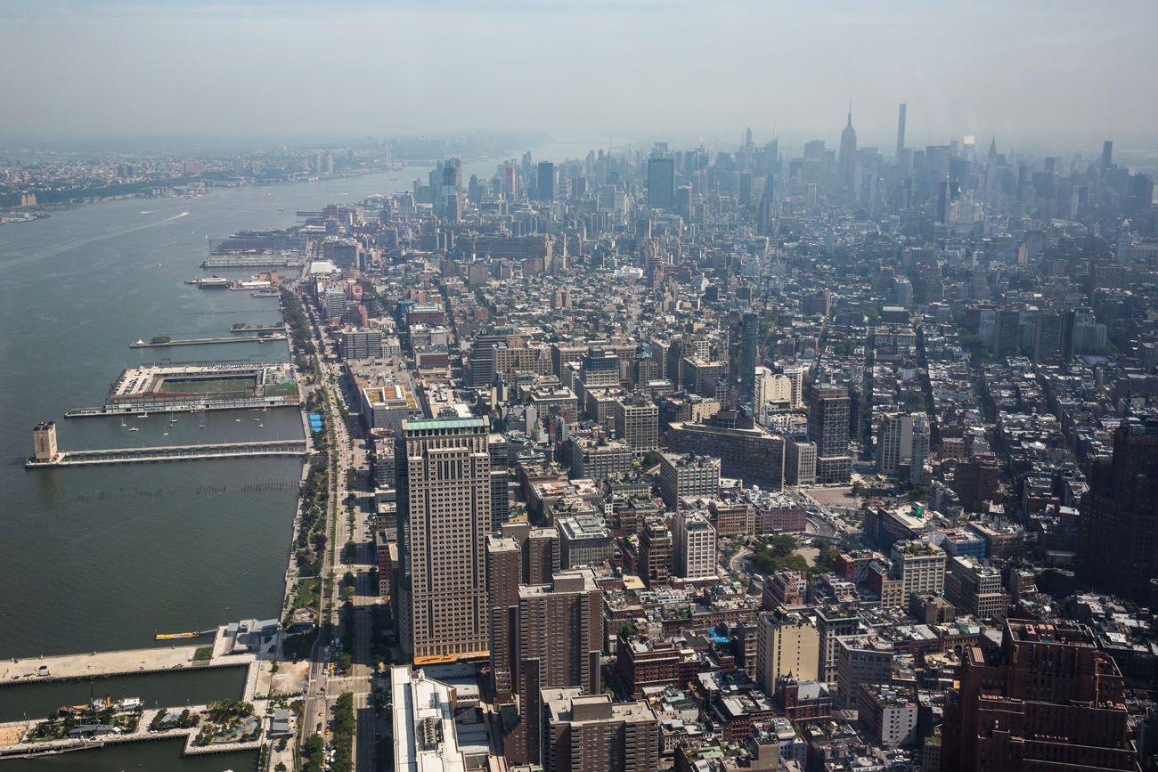 North from One World best observation decks in NYC