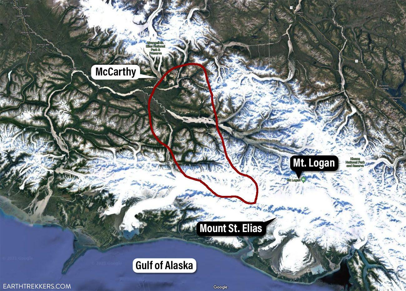 Bagley Icefield Flightseeing Map