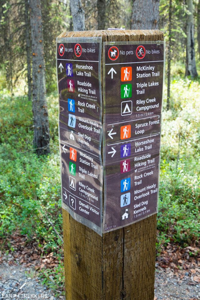 Hikes in Denali Trail Sign