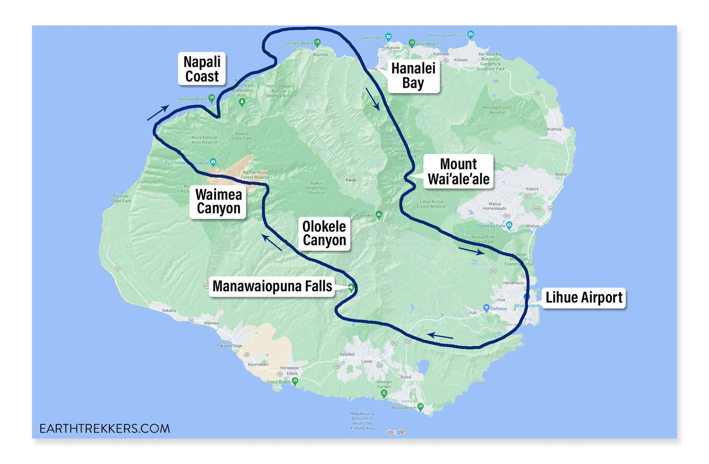 Kauai Helicopter Flight Map