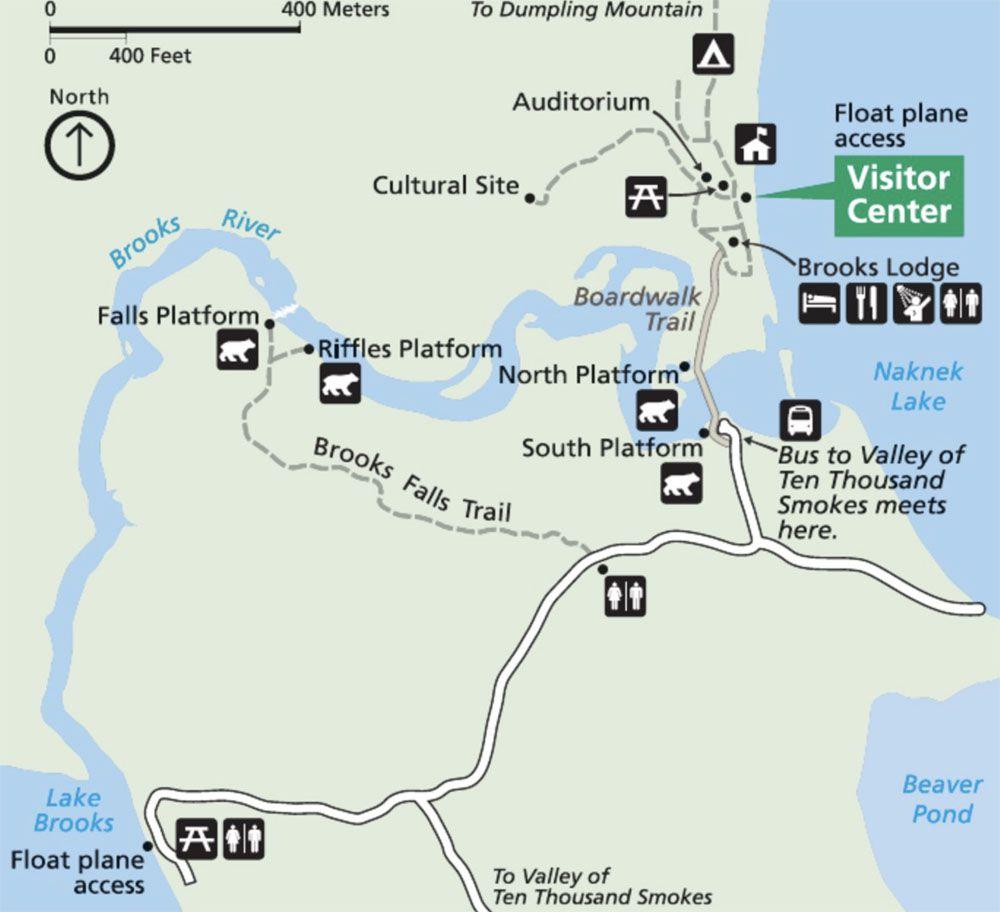 Map of Brooks Falls Trail