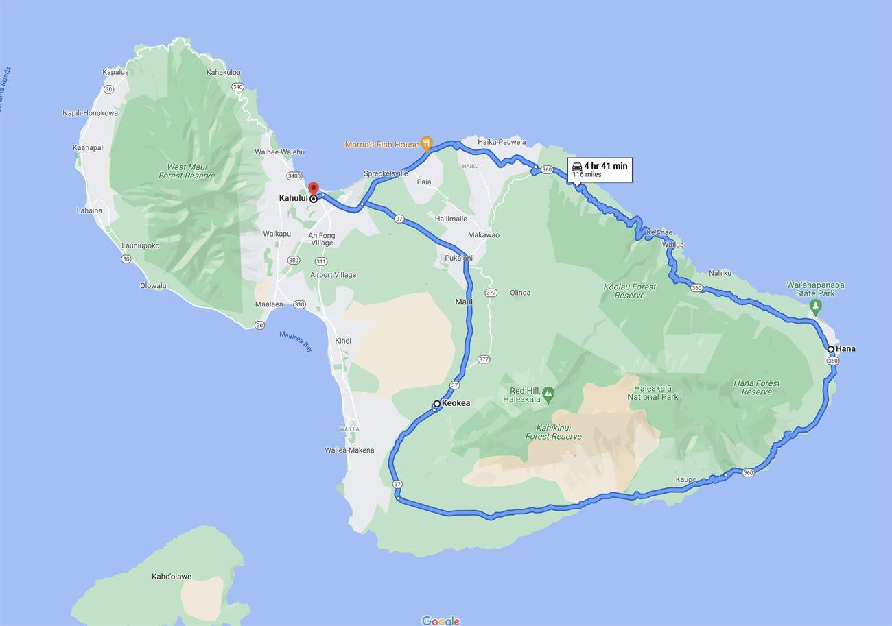 Road to Hana Loop Map