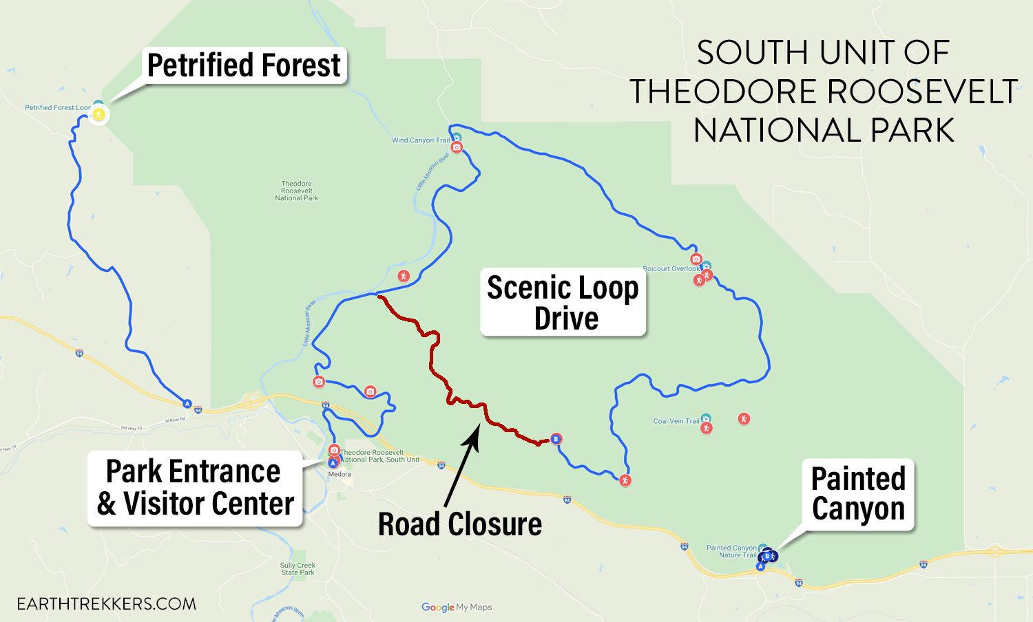 South Unit of Theodore Roosevelt Map